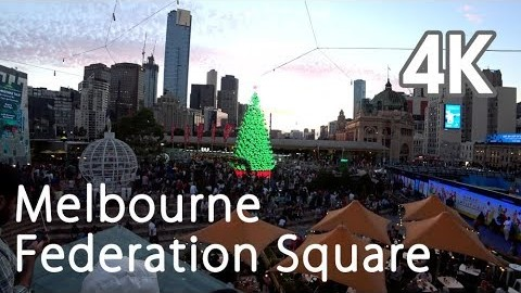 【4K UHD MELBOURNE AUSTRALIA】Walking Through Melbourne Federation Square メルボルン 墨尔本 멜버른 Мельбурн