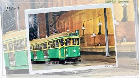 35번 free tram in Melbourne/멜번 시티 무료트램 35번/까렌다쉬 과슈물감/과슈그림